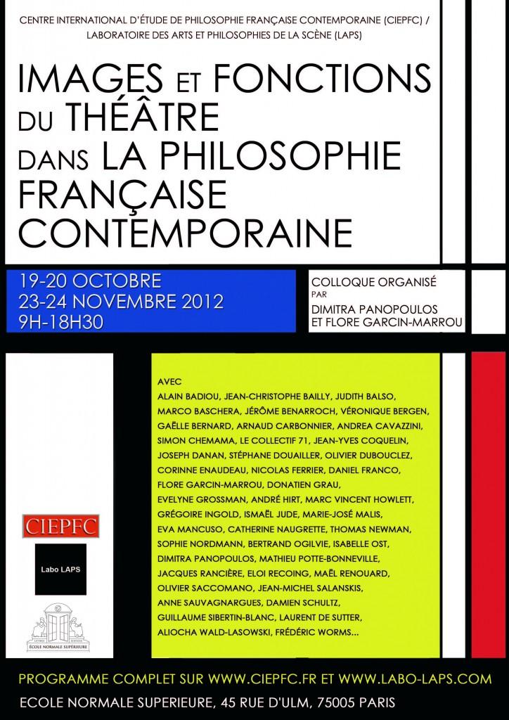 affiche Images et fonctions du théâtre dans la philosophie française contemporaine